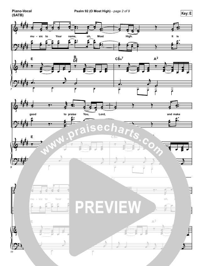 Psalm 92 (O Most High) Piano/Vocal (SATB) (Paul Baloche)