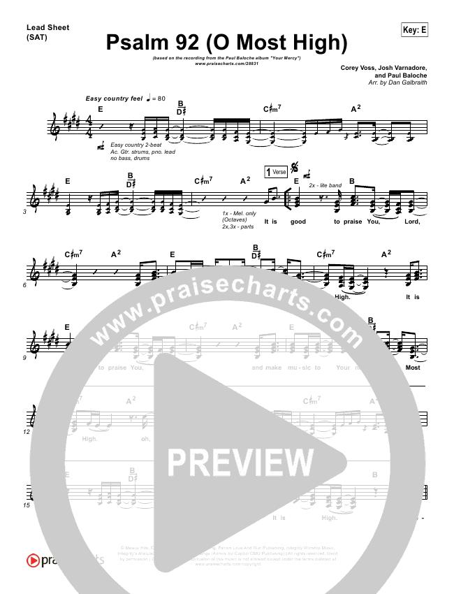 Psalm 92 (O Most High) Lead & Piano/Vocal (Paul Baloche)
