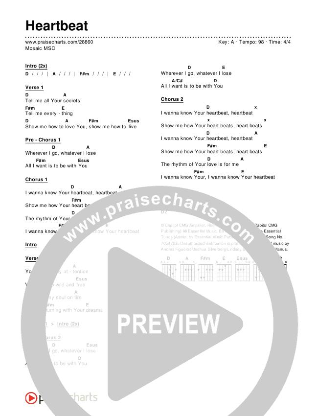 Heartbeat Chords - Mosaic MSC | PraiseCharts