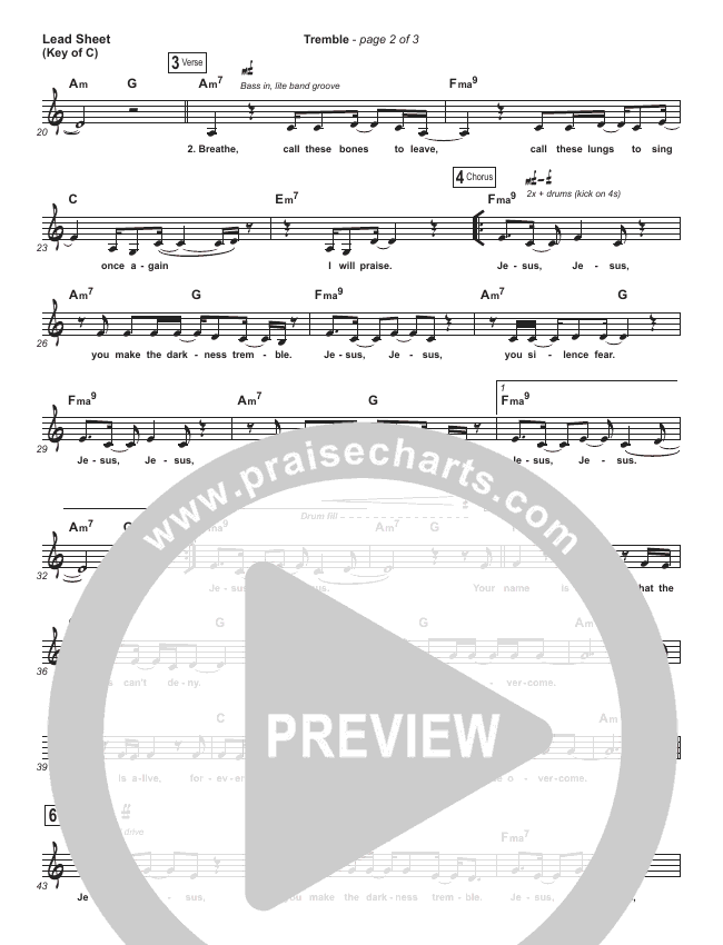 Tremble Lead Sheet (Melody) (Mosaic MSC)