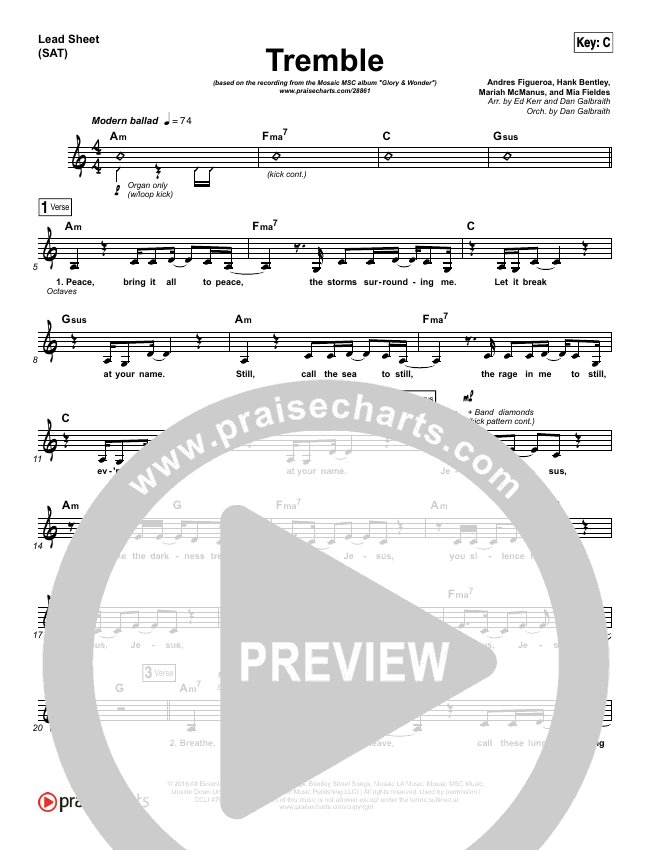 Tremble Lead Sheet & Piano/Vocal - Mosaic MSC | PraiseCharts