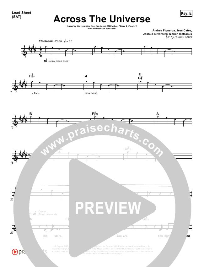 Across The Universe Lead Sheet - Mosaic MSC | PraiseCharts