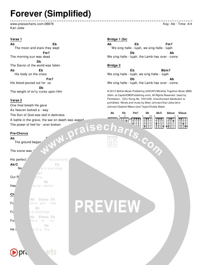 Forever (Simplified) Chord Chart (Kari Jobe)