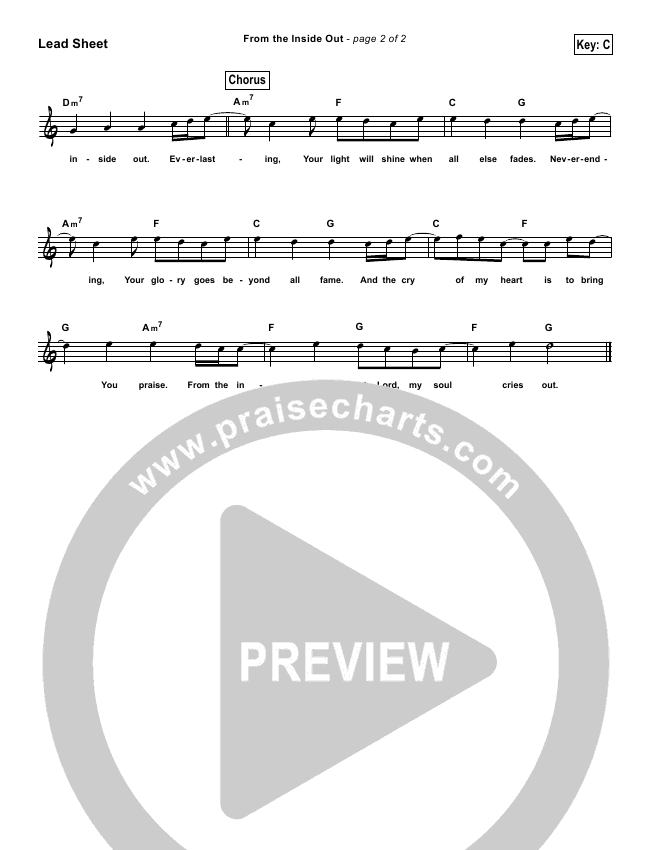 From The Inside Out (Simplified) Lead Sheet (Hillsong Worship)
