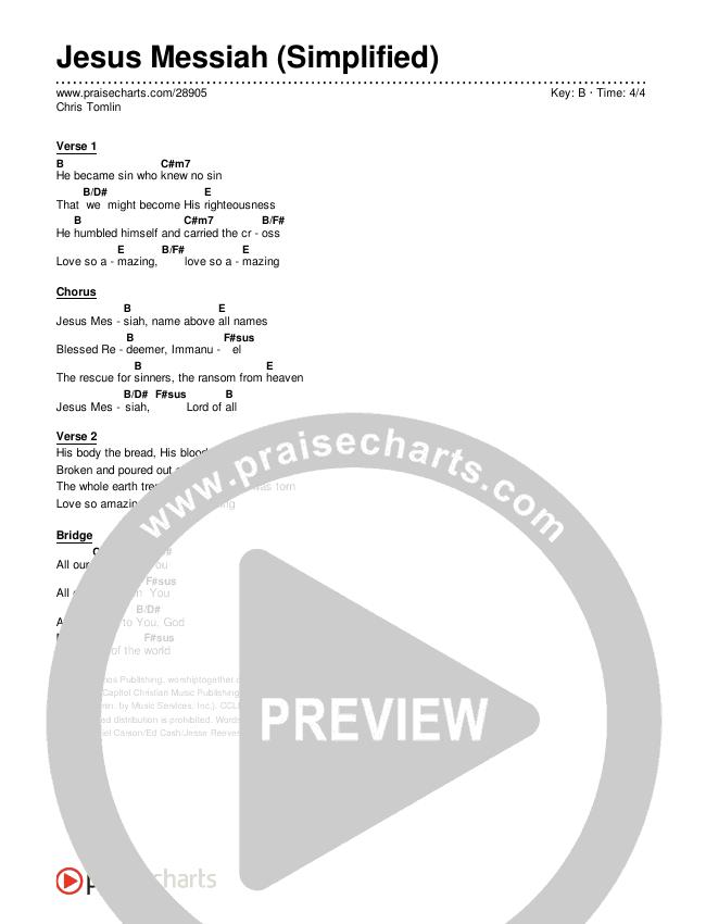 Jesus Messiah (Simplified) Chords & Lyrics (Chris Tomlin)