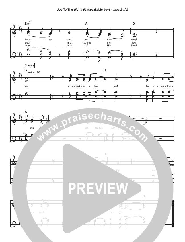 Joy To The World (Unspeakable Joy) (Simplified) Hymn Sheet (Chris Tomlin)