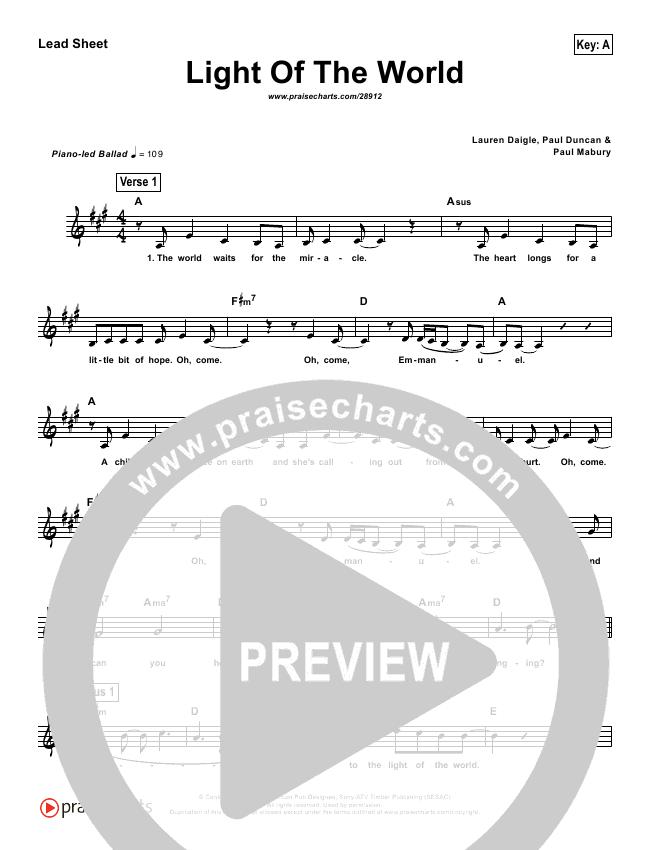 Light Of The World (Simplified) Lead Sheet (Lauren Daigle)