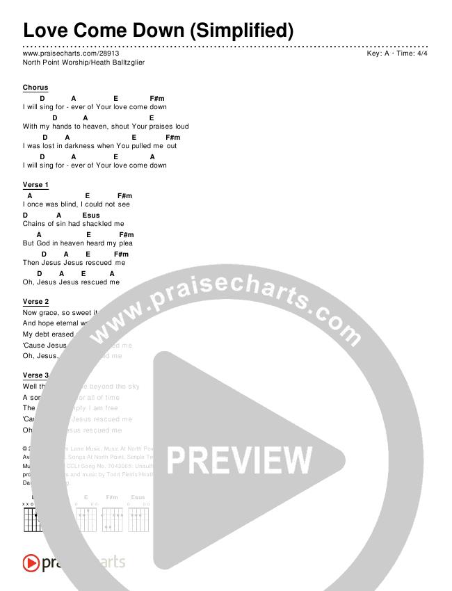 Love Come Down (Simplified) Chord Chart (Heath Balltzglier / North Point Worship)