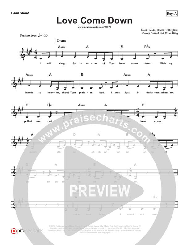 Love Come Down (Simplified) Lead Sheet (Heath Balltzglier / North Point Worship)