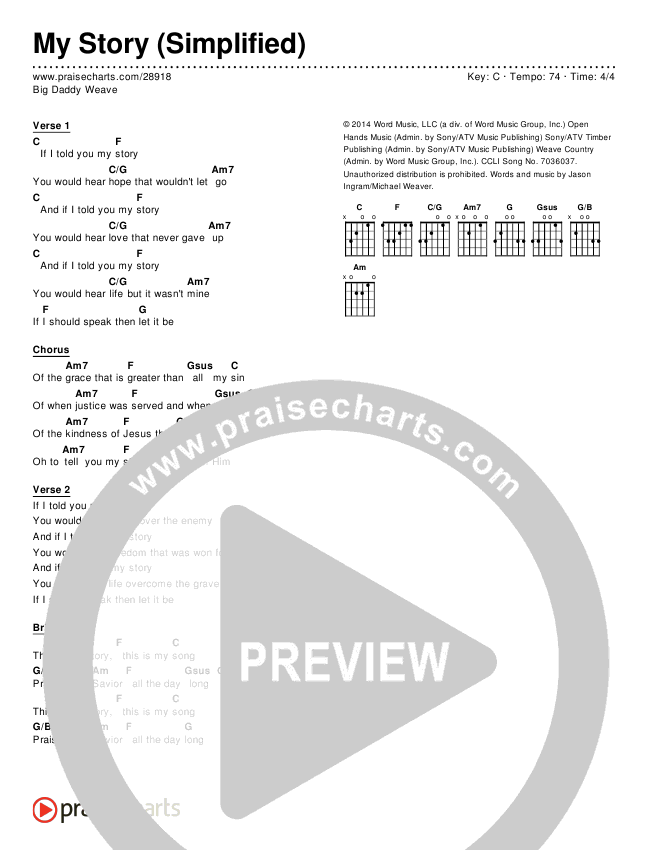 My Story (Simplified) Chords & Lyrics (Big Daddy Weave)