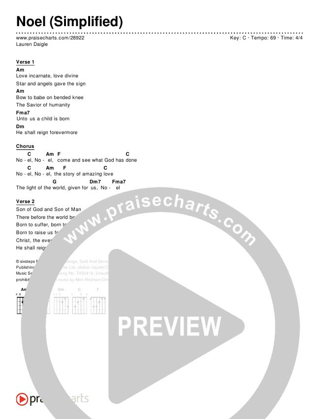 Noel (Simplified) Chords & Lyrics (Lauren Daigle)