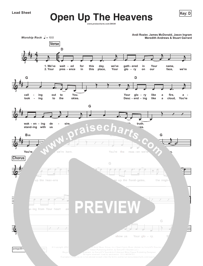 Open Up The Heavens (Simplified) Lead Sheet (Vertical Worship)