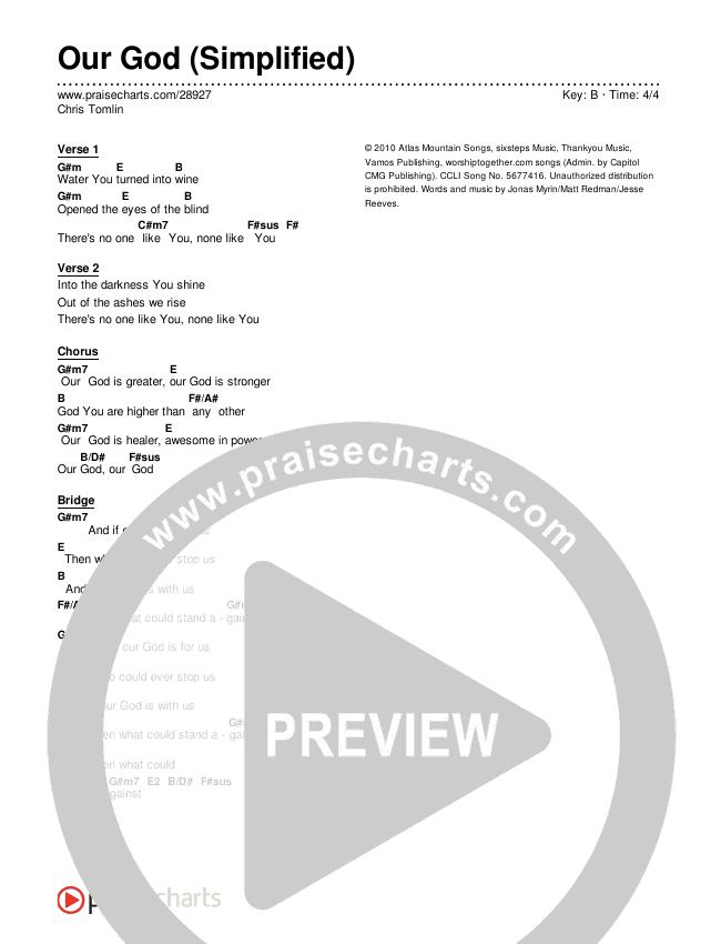 Our God  (Simplified) Chords & Lyrics (Chris Tomlin)