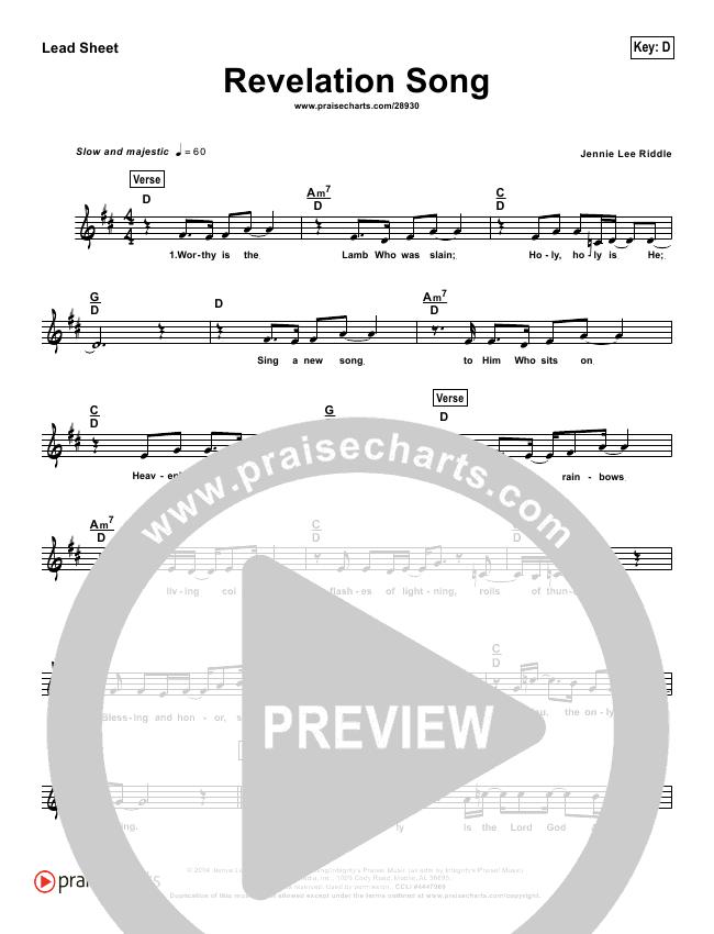 Revelation Song (Simplified) Lead Sheet (Kari Jobe)