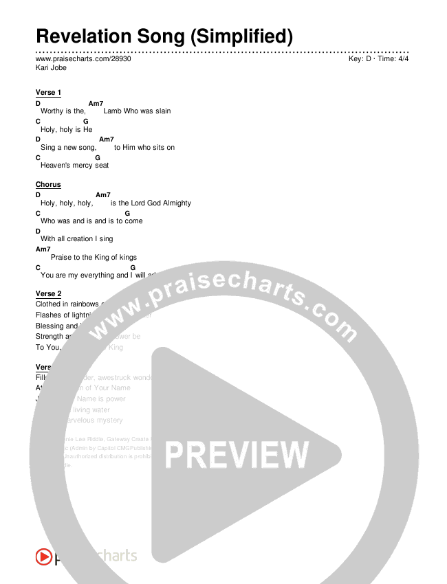 Revelation Song (Simplified) Chord Chart (Kari Jobe)