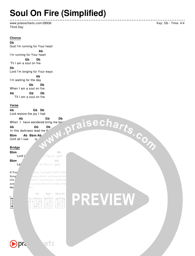 Soul On Fire (Simplified) Chords & Lyrics (Third Day)