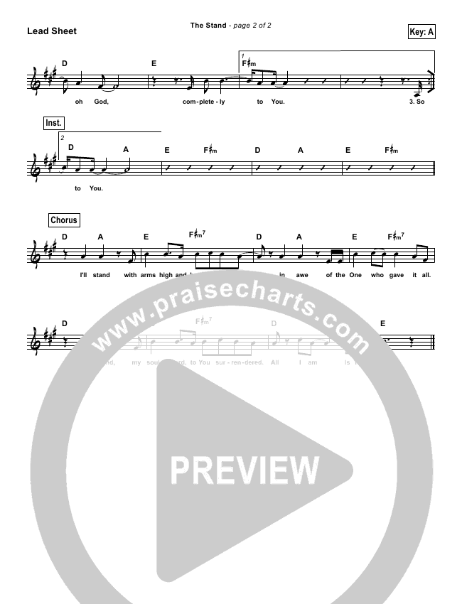 The Stand (Simplified) Lead Sheet (Hillsong UNITED)