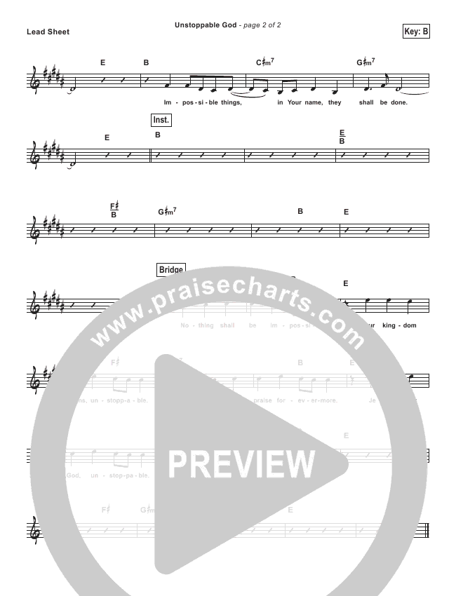 Unstoppable God (Simplified) Lead Sheet (Elevation Worship)