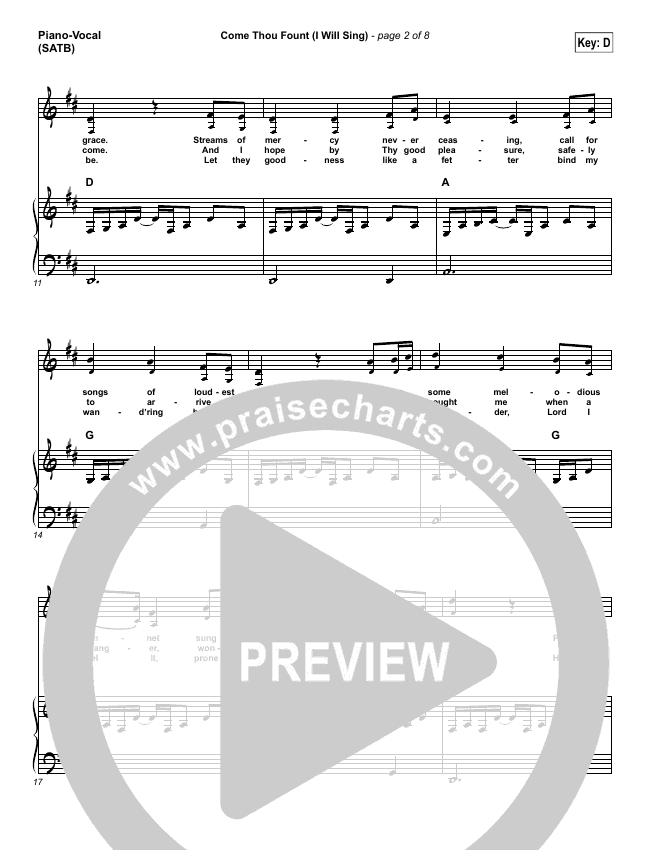Come Thou Fount (I Will Sing) Piano/Vocal (SATB) (Chris Tomlin)