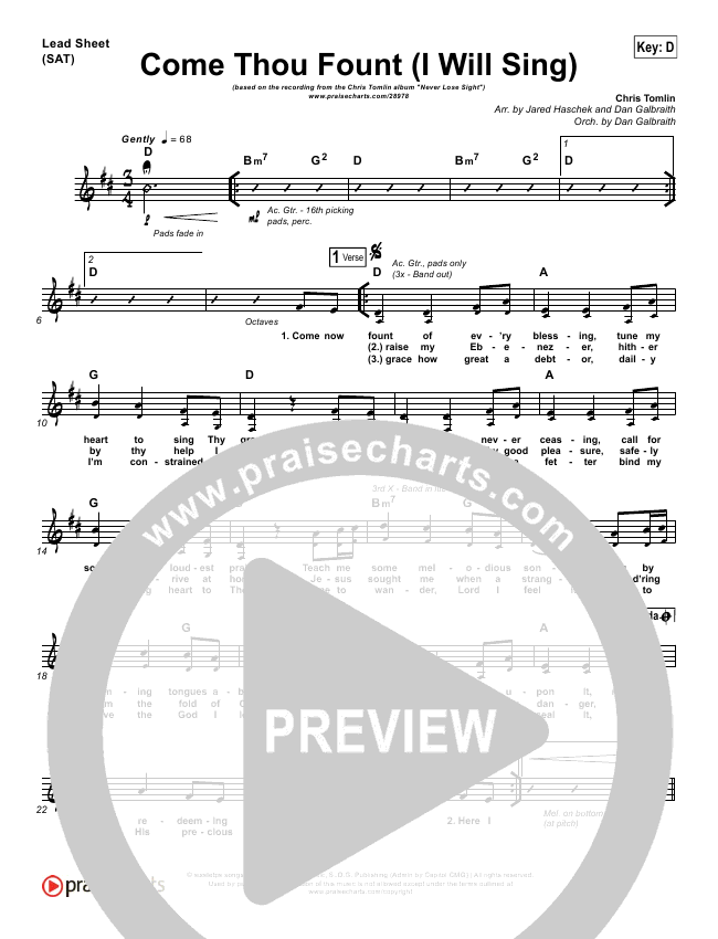 Chris Tomlin E Thou Fount I Will Sing Lead Sheet Sat: Wii Music Sheet Trumpet At Alzheimers-prions.com