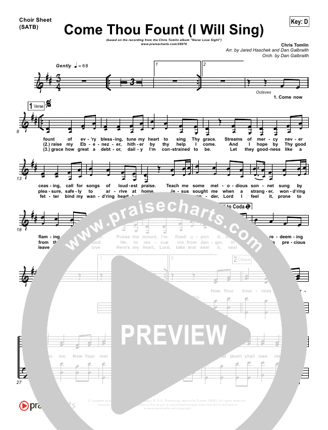Come Thou Fount (I Will Sing) Choir Sheet (SATB) (Chris Tomlin)