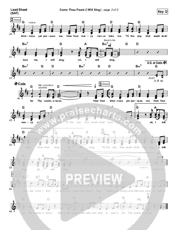 Come Thou Fount (I Will Sing) Lead Sheet (SAT) (Chris Tomlin)