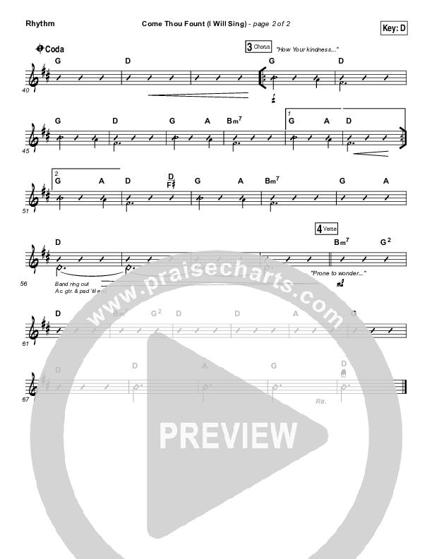 Come Thou Fount (I Will Sing) Rhythm Chart (Chris Tomlin)