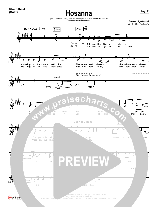 Hosanna Choir Sheet Satb Hillsong United Praisecharts