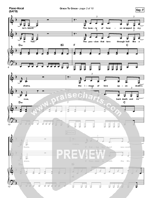 Grace To Grace Piano/Vocal (SATB) (Hillsong Worship)