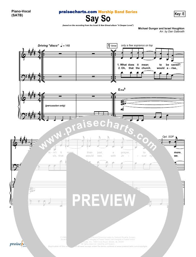 Say So Piano/Vocal (SATB) (Israel Houghton)