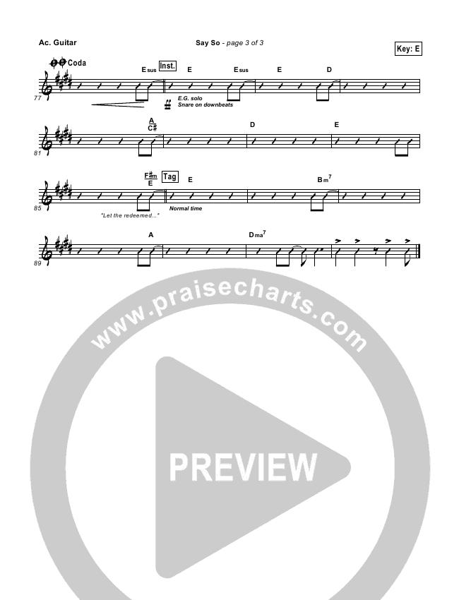 Say So Rhythm Chart (Israel Houghton)