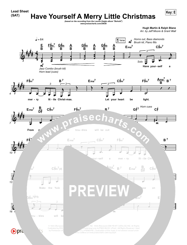 Have Yourself A Merry Little Christmas Lead Sheet Lauren Daigle