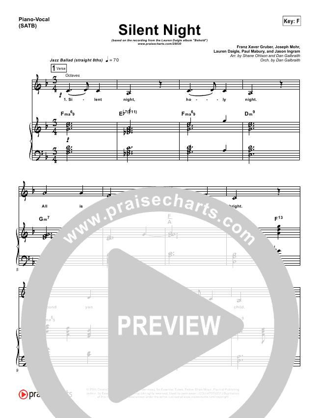 Silent Night Orchestration Lauren Daigle Praisecharts