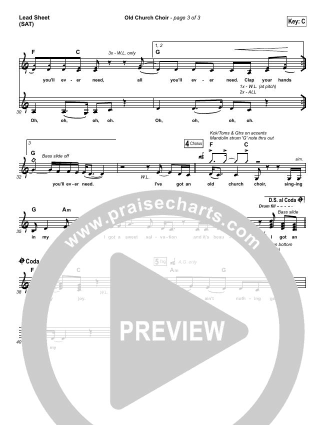 Old Church Choir Lead Sheet (SAT) (Zach Williams)