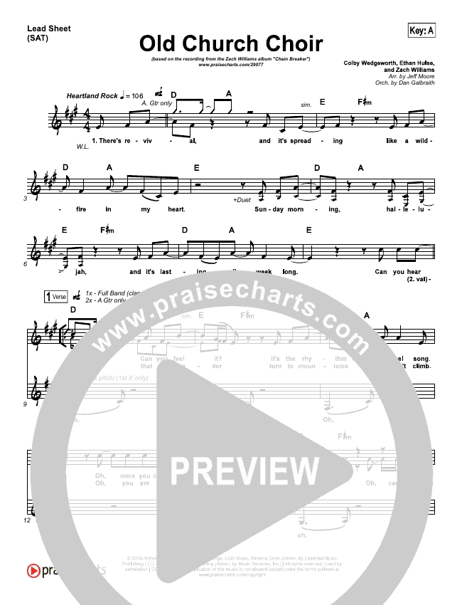 Old Church Choir Lead & Piano/Vocal (Zach Williams)