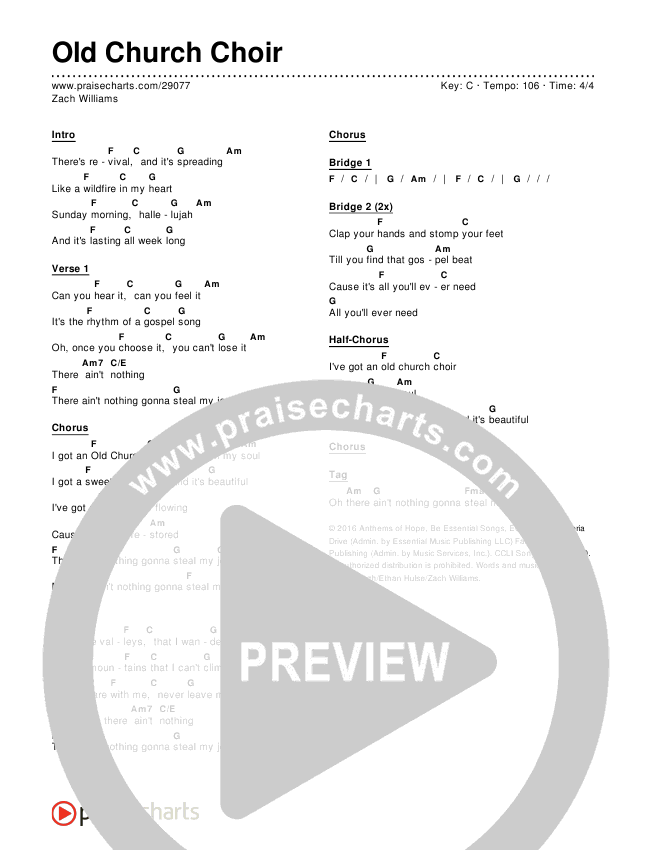 Old Church Choir Chords - Zach Williams | PraiseCharts