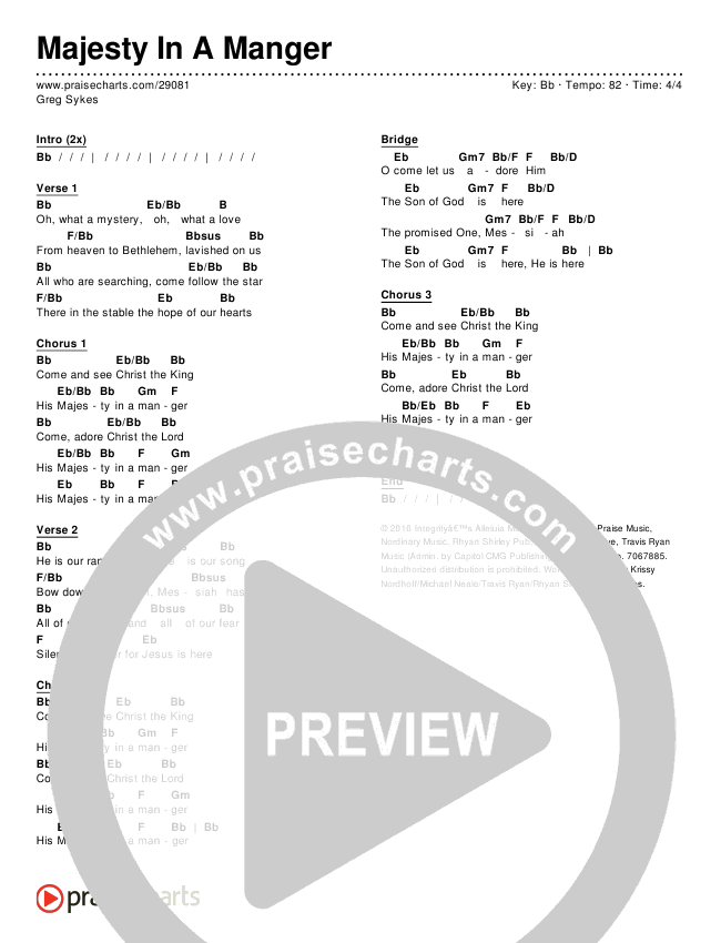 Majesty In A Manger Chords - Greg Sykes | PraiseCharts