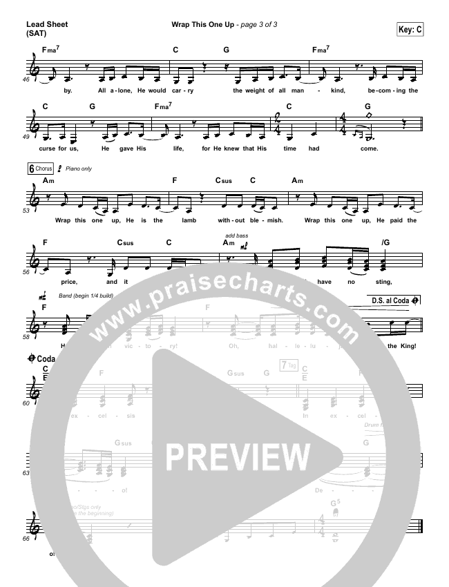 Wrap This One Up Lead Sheet (SAT) (Christy Nockels)