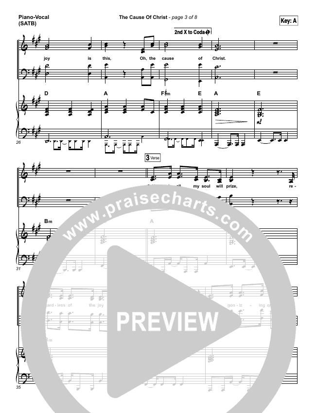 The Cause Of Christ Piano/Vocal (SATB) (Kari Jobe)