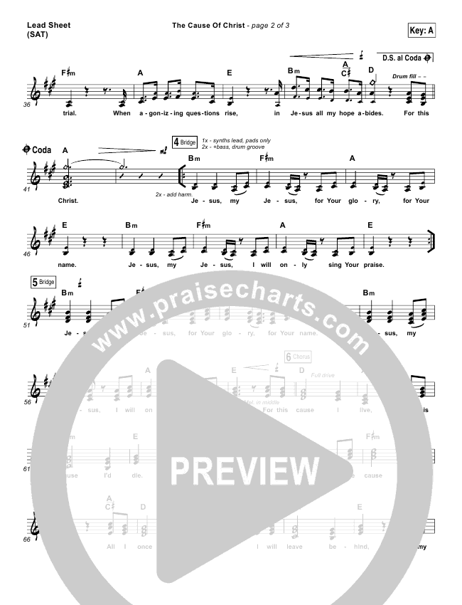 The Cause Of Christ Lead & Piano/Vocal (Kari Jobe)