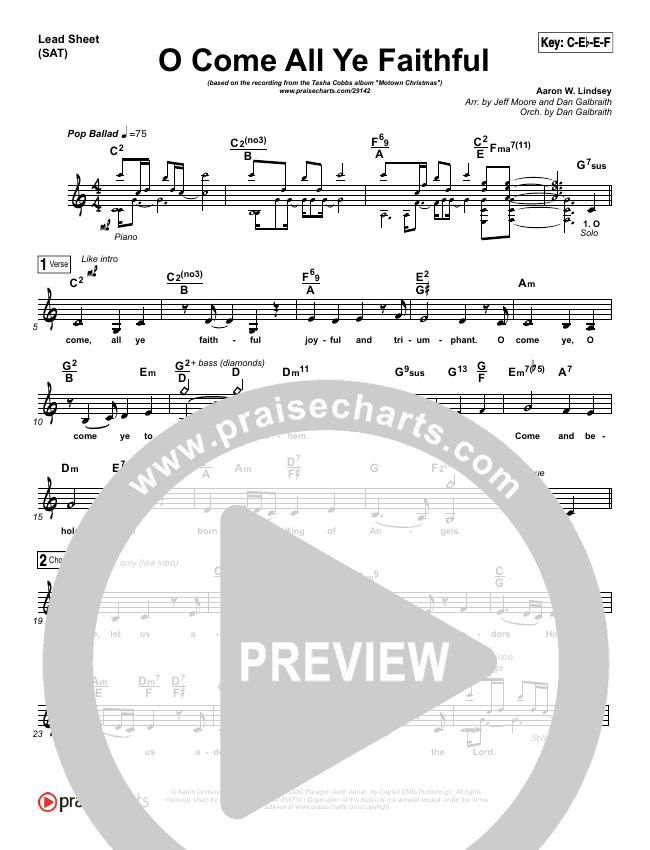 O Come All Ye Faithful Lead Sheet & Piano/Vocal - Tasha Cobbs ...