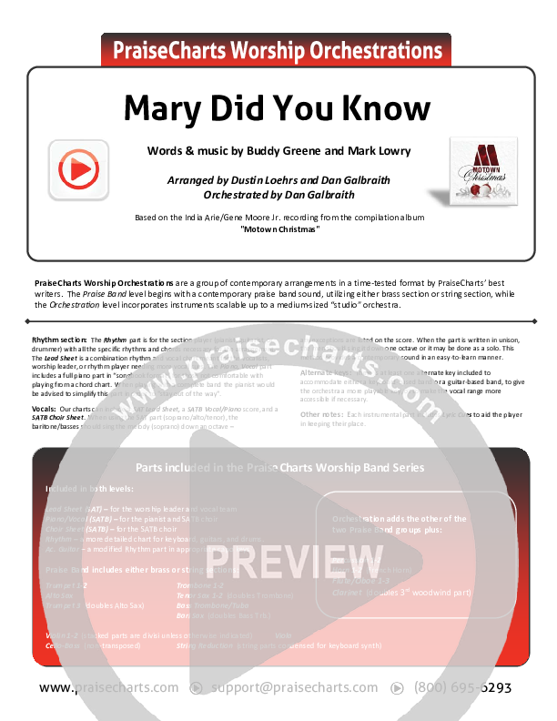 Mary Did You Know Orchestration (India Arie / Gene Moore Jr.)