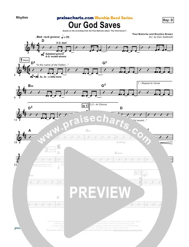 Our God Saves Rhythm Chart (Paul Baloche)
