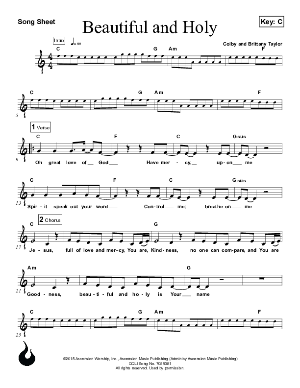Beautiful And Holy Lead Sheet (Ascension Worship)