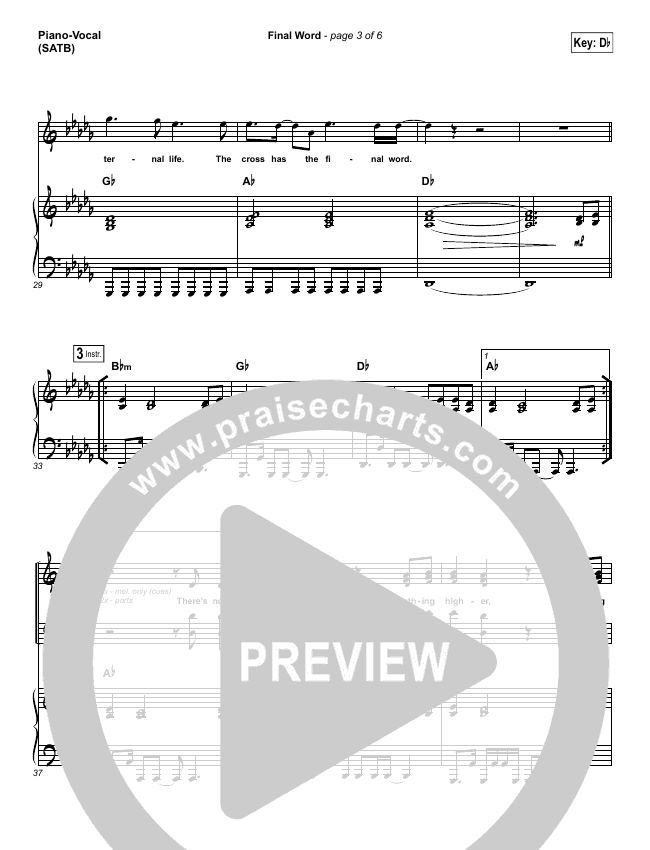 The Cross Has The Final Word Piano/Vocal (SATB) (Wells)