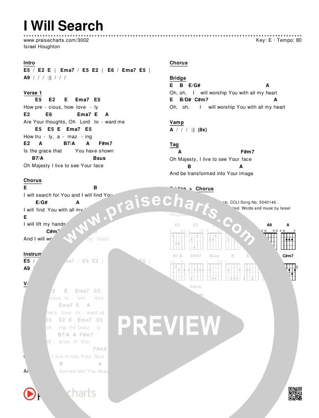 I Will Search Chords & Lyrics (Israel Houghton)