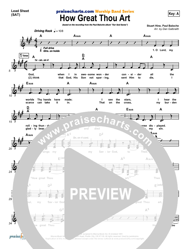 How Great Thou Art Lead Sheet (SAT) (Paul Baloche)