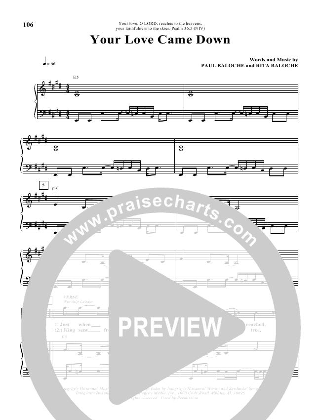 Your Love Came Down Lead & Piano (Paul Baloche)