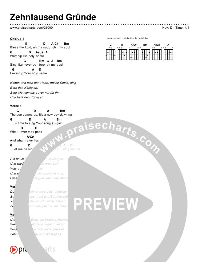 Zehntausend Gründe (10000 Reasons (Bless The Lord)) (Simplified) Chords & Lyrics (Matt Redman / Passion Band)