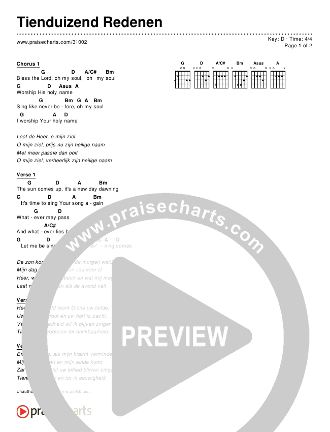 Tienduizend Redenen (Simplified) Chords & Lyrics (Matt Redman / Passion)